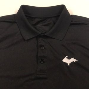 MICHIGAN U.P. Black Golf Polo Shirt Mens Large
